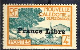 Nouvelle Caledonie 1941 N. 198 C. 4 Sovrastampato France Libre MNH Cat. € 17 - Nuova Caledonia