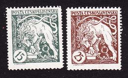 Czechoslovakia, Scott #B124-B125, Mint Hinged, Bohemian Lion Breaking Its Chains, Issued 1919 - Czechoslovakia
