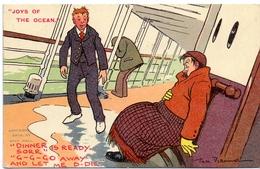 Humor Humour - Boat - Seasick - Joys Of The Ocean - Illustr Tom Browne - 1909 - Humor