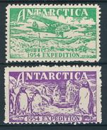 Antarktika, 2 Alte Vignetten Einer Expedition 1954 - Ohne Zuordnung