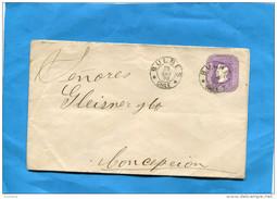 MARCOPHILIE -CHILI-lettre Entier Postal-5cent Colon 1898 Cad Bulnes  -pour Conception - Chile