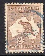 Australia 1915 2/- Brown 'Roo, 2nd Wmk., Used, Blue Cancel (fiscal?) (SG 29) - 1913-48 Kangaroos