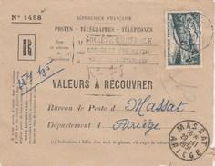 Yvert 842A Meuse Perforé SG Société Générale Sur Devant Lettre Recommandée Valeurs Recouvrer Vierzon 1951 - France
