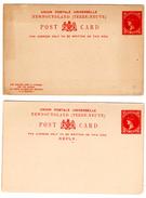CP Avec Réponse Payée...détachée_2 Cents Red_Newfoundland - 1865-1902