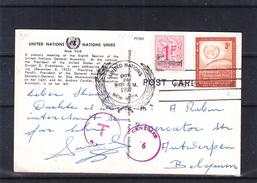 Nations Unies - New Yoyk - Carte Postale Taxée De 1957 - Oblit United Nations - Exp Et Taxée En Belgique - New York – UN Headquarters