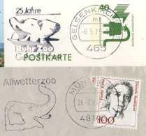 718  Eléphant, Zoo: 2 Flammes D'Allemagne, 1975+1994 -  Elephant Slogan Cancels From Germany - Elefanten