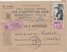 Yvert 905 Arbois + 811 Gandon Sur Devant Lettre Recommandée Valeurs Recouvrer MARSEILLE ST FERREOL 1951 à Massat Ariège - France