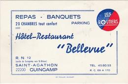 """Carte Commerciale Les Routiers / Hôtel Restaurant """"Bellevue"""" / RN 12 / Saint Agathon / Guingamp 22 / Côtes D'Armor - Cartes"""