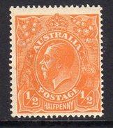 Australia 1918-23 ½d Orange GV Head, 2nd Wmk. 5, Hinged Mint (SG 56) - Mint Stamps