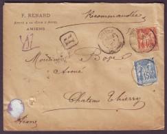 SOMME - LSC - Tàd T84 AMIENS Sur N° 94 + N° 101 + Recommandé Pour Château Thierry (2) - Marcophilie (Lettres)