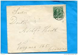 MARCOPHILIE -CHILI-lettre Entier Postal-4cVert -cad-santiago 1916-pour Cindad - Chile