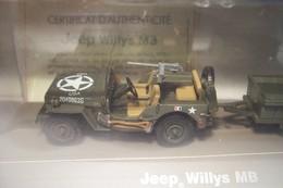 JEEP  WILLYS   MB ( De La 2 éme  DB)  Et REMORQUE  ( Sous Blister ) - Militaria