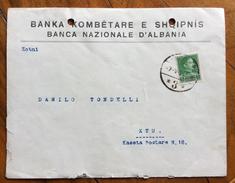 BANCA NAZIONALE D'ALBANIA BUSTA INTESTATA PER KTU IN DATA 7/5/1938 CON 5q. - Albania