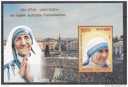INDIA, 2016, SAINT TERESA, Canonization, 4 September, Miniature Sheet, MNH, (**)