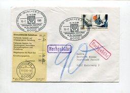 Bundesrepublik Deutschland / 1989 / Bf. Nachgebuehr, Entsprech. Aufkleber, SSt. Muenchen (4/097) - Briefe U. Dokumente