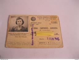 FILOVIA Comunale Di VENEZIA Abbonamento Annuale PIAZZA ROMA-CARPENEDO-MARGHERA  Tessera Con Foto E Bollini Del 1/2/1945 - Abbonamenti