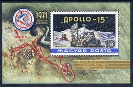 HUNGARY 1972 Apollo 15 Space Flight Block MNH / **.  Michel Block 87 - Blocks & Sheetlets