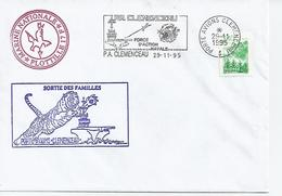 PORTE AVIONS CLEMENCEAU SORTIE DES FAMILLES + 17 F    LE 29/11/1995 - Postmark Collection (Covers)