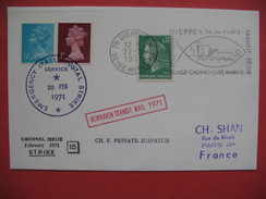 Lettre Greve 20 /02/1971  , Cover Postal Strike 1971 , Newhaven Transit Mail - Marcophilie
