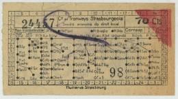 Ticket Des Tramways Strasbourgeois. Pub Perle Bock. Bière De Strasbourg. Vers 1930. - Tramways