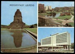 [021] Leipzig, Interhotel 'Stadt Leipzig', Haupbahnhof, Völkerschlachtdenkmal, Gel. 1977, VEB Bild & Heimat, DDR - Leipzig
