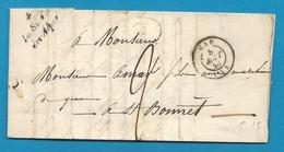 Hautes Alpes - La Saulce Des Alpes Pour St Bonnet. Cursive + CàD Type 15 De GAP. 1846. Indice 14 - Marcofilie (Brieven)