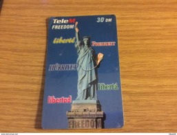 Rarer Prepaid Card - 30 DM  Lady Liberty  - TeleM Freedom  - Not Perfect  Used Condition - Deutschland