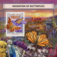 SIERRA LEONE 2016 ** Migration Of Butterflies Schmetterlinge Papillons S/S - IMPERFORATED - A1702 - Schmetterlinge