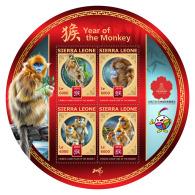 SIERRA LEONE 2016 ** Year Of The Monkey Jahr Des Affen M/S - IMPERFORATED - A1702 - Chines. Neujahr