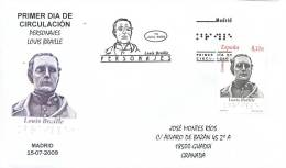 SPAIN 2009. FIRST DAY COVER. LOUIS BRAILLE. BLIND - Beroemde Personen