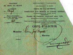 VP7525 - Commune De CONGIS ( Seine Et Marne ) - Carte D'Electeur De Mr Jean - Baptiste LIEVIN - Cartes