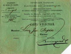 VP7526 - Commune De CONGIS ( Seine Et Marne ) - Carte D'Electeur De Mr Jean - Baptiste LIEVIN - Cartes