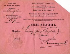 VP7527 - Commune De CONGIS ( Seine Et Marne ) - Carte D'Electeur De Mr Jean - Baptiste LIEVIN - Cartes