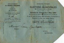 VP7528 - Commune De CONGIS ( Seine Et Marne ) - Carte D'Electeur De Mr Jean - Baptiste LIEVIN - Cartes