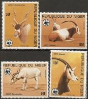 Niger, 1985, Antilopes, Mendesantilopes, Gazelle, Gemsbuck World Life Fund, Nature Conservation, 4 Values MNH