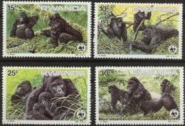 Ruanda, Rwanda, 1985, Mountain Gorillas, World Life Fund, Nature Conservation, 4 Values MNH