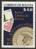 Bolivia 2003, 75 Year Central Bolivian Bank - Paper Money - Hermes Head 1 Value MNH - Ohne Zuordnung