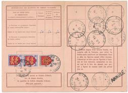 France - RARE Carte D´abonnement Avec Timbres Armoiries Normandie Languedoc Cad ROUEN 1944 & DIEPPE 1945 - 1921-1960: Periodo Moderno