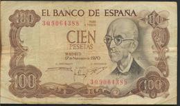 °°° SPAGNA SPAIN - 100 PESETAS 1970 °°° - [ 3] 1936-1975 : Régence De Franco