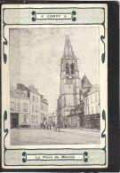 8066. CONTY . LA PLACE DU MARCHE . (recto Verso)   ANNEE . 1903 .   CAFE RESTAURANT DEVALLOIS . MENU . - Conty