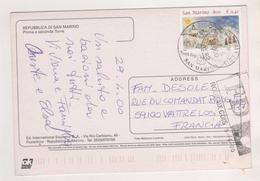 SAN MARINO 2000 - CARTE POUR WATTRELOS FRANCE, FD ROUBAIX - CACHET ILLUSTRE SUR TIMBRE DE NOEL - Lettres & Documents