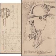 Allemagne 1917. Carte De Franchise Militaire. Bande Dessinée, Observation Aux Jumelles. Soldat Obèse, Arbre - Bandes Dessinées
