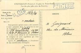 A-17-1026 : CARTE POSTALE CHATEAULIN. FINISTERE. CHEMIN DE FER DE PARIS A ORLEANS  14 02 1931.  BLOIS PETITE VITESSE - Marcophilie (Lettres)