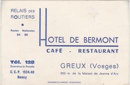 Carte Commerciale Les Routiers / Restaurant Hôtel De Bermont / Greux / Vosges 88 - Cartes