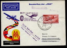 A4441) DDR Luftpostbrief Von Leipzig 5.3.57 Nach Wien - DDR