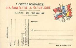 A-17-170 : CARTE POSTALE FRANCHISE MILITAIRE. CORRESPONDANCE DES ARMEES. CARTE DRAPEAU - Marcofilia (sobres)