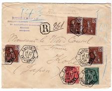 DEVANT DE LETTRE INDO CHINE RECOMMANDE 27 SEPTEMBRE 1906. BUREAU AUXILLIAIRE  SAIGON A COCHINCHINE  POUR KOBE JAPON - Indochina (1889-1945)