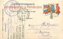 A-17-182 : CARTE POSTALE FRANCHISE MILITAIRE. CORRESPONDANCE DES ARMEES. DRAPEAUX TRESOR POSTE 96. 28 REGT TERRITORIAL - Marcophilie (Lettres)