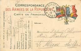A-17-184 : CARTE POSTALE FRANCHISE MILITAIRE. CORRESPONDANCE DES ARMEES. DRAPEAUX. TRESOR ET POSTE 170 - Cartes De Franchise Militaire