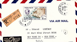 LETTRE RECOMMANDE PAR AVION  23.3.64.  MONACO  POUR USA NEW-YORK ENERGIE ATOMIQUE N° PA 80 SEUL SUR LETTRE - Monaco